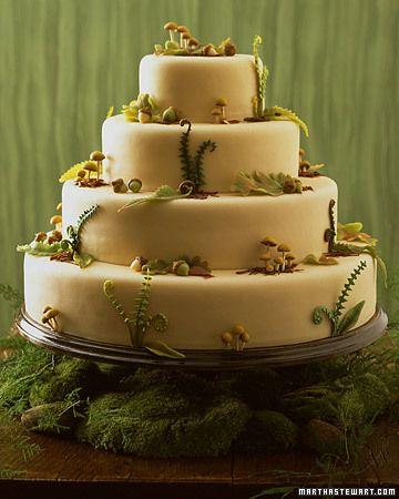 Woodland Wedding Cake (w/Marzipan Decorations) by Wendy Kromer for Martha Stewart Weddings