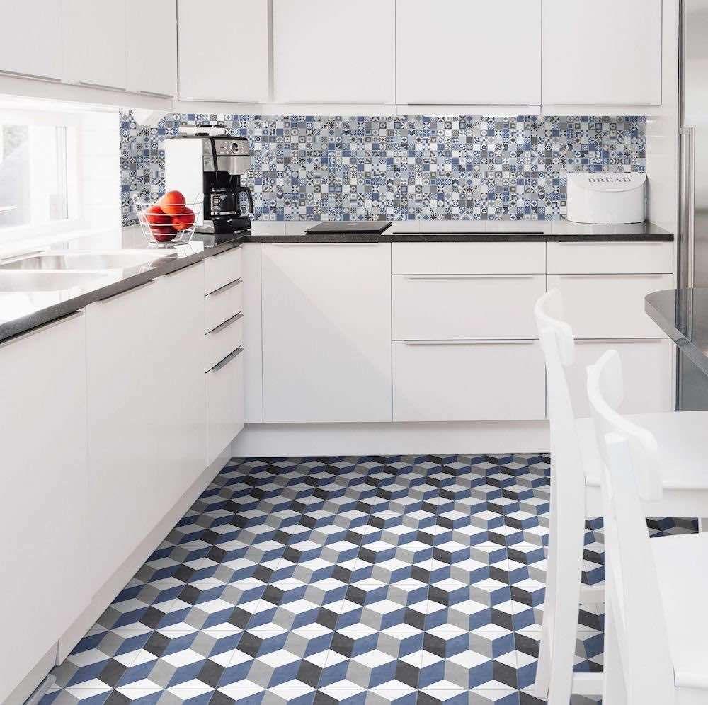 Heritage Porcelain Tile Coastal Blue 9x9 Installed On A Kitchen Floor Kitchen Flooring Patterned Floor Tiles Beautiful Tile Floor