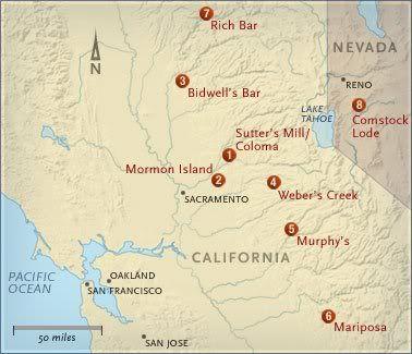 California gold rush map showing major finds in Gold Country ... on buffalo california map, morgantown california map, highway 49 california map, old california gold mine map, mormon bar california map, gold butte county california, sierra nevada river on the map, boise california map, miwok california map, san francisco bay california map, gold deposits map minnesota, janesville california map, gold found in california map, el dorado county california map, las cruces california map, greater los angeles california map, amarillo california map, gold run california map, coloma california map, napa california map,