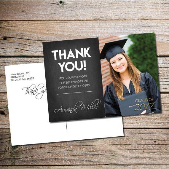 Graduation Thank You Card Thank You Graduation Card Thank Etsy In 2021 Graduation Thank You Cards Photo Thank You Cards Thank You Cards