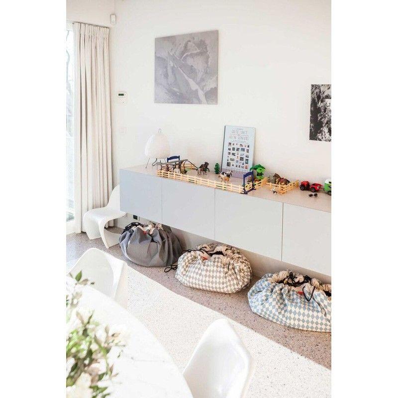 Aufbewahrung Im Kinderzimmer Aufraumsack Mit Rauten In Grau Von