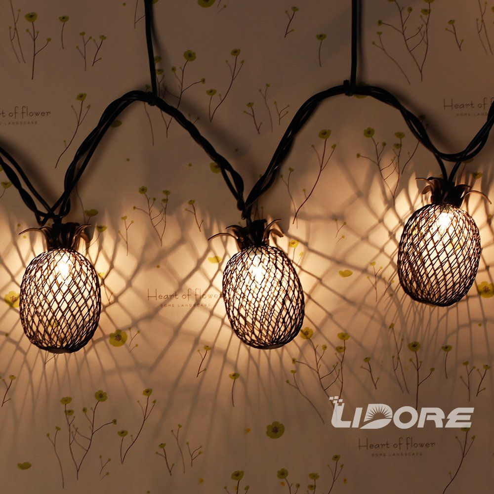 String Of Lantern Lights Indoor : Amazon.com : LIDORE Set of 10 Metal Pineapple Shaped Lanterns String Lights. Best For Indoor ...