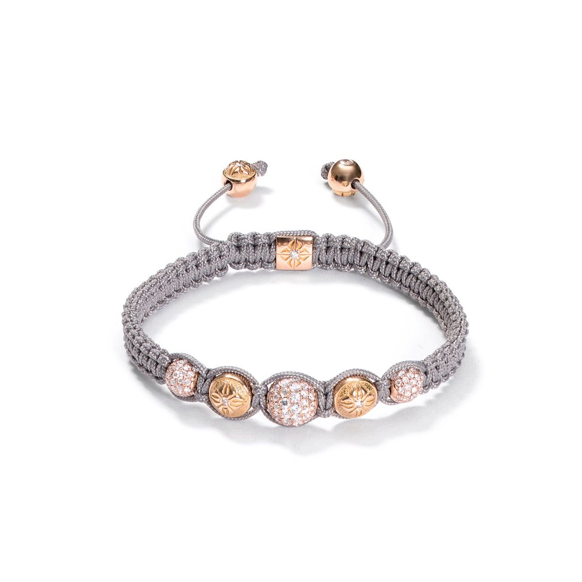 Diamonds 18k Rose Gold Shamballa Bracelet Knots Macrame Bracelets Stretch