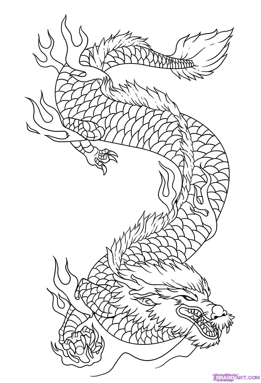 Kleurplaten Chinese Draak.Dragon Drawings How To Draw Dragon Art Step 9