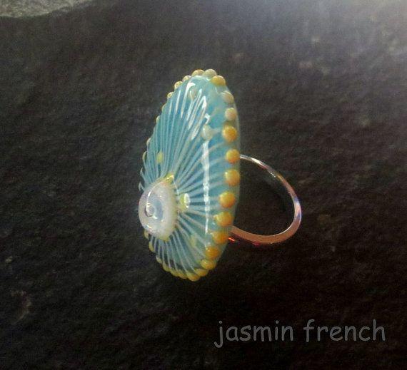 jasmin french ' jelly ' RINGTOP lampwork bead ooak by jasminfrench