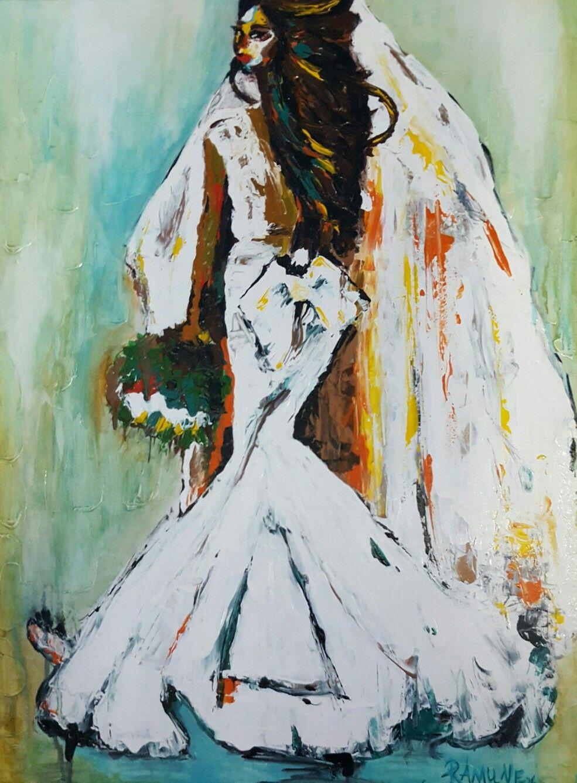 Ramune Art Ramunesadauskiene �🎨wedding Weddingdress Painting Acrylic Figurativepainting Paveikslai: Abstract Art Wedding Dress At Websimilar.org