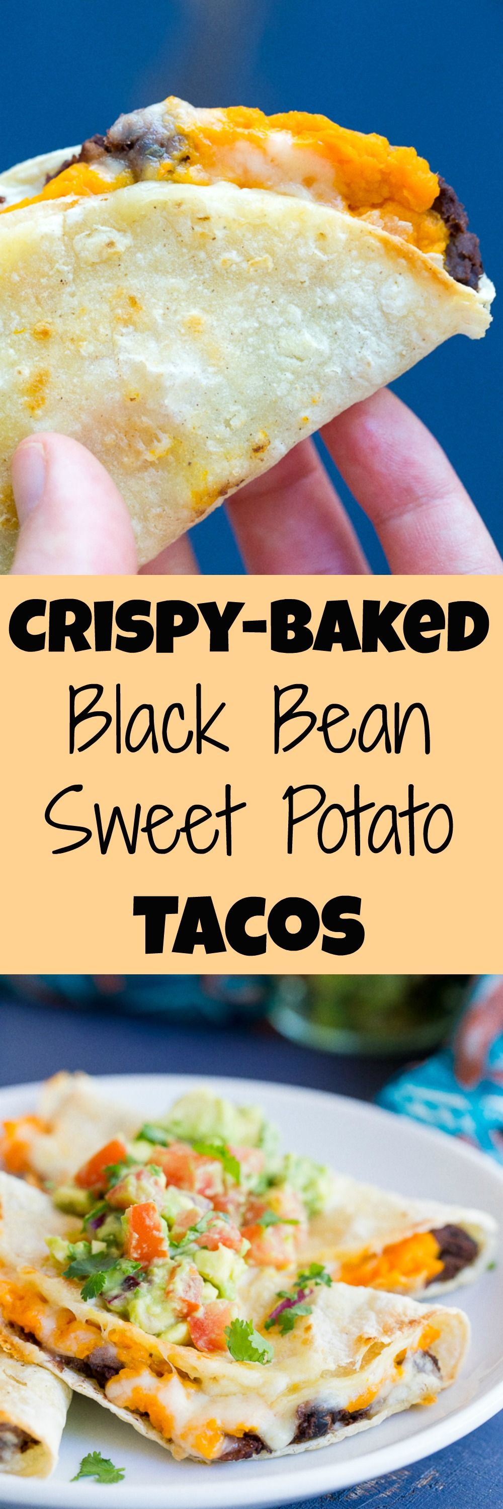 These Crispy Baked Black Bean and Sweet Potato Tacos just take 30 Minutes to make for a delicious vegetarian dinner that is also gluten free!