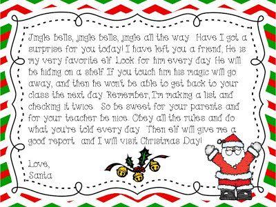 Kindergarten Elf On The Shelf Letter From Santa Freebie
