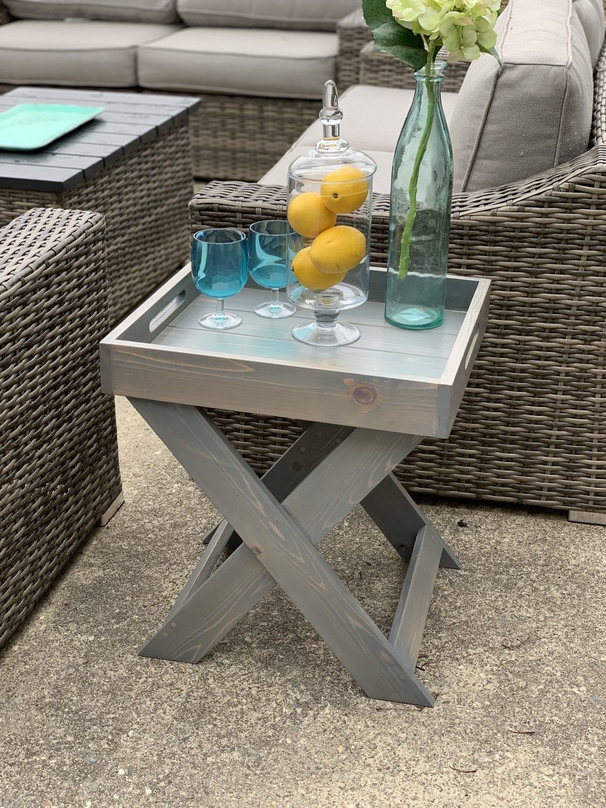 Cedar Side Table Outdoor Furniture Patio Furniture Side Table