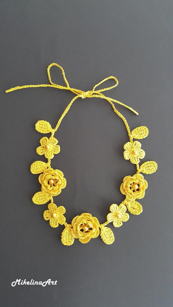 Collar de ganchillo rosa, accesorio de cuello de ganchillo, collar de flores, amarillo, 100% algodón.