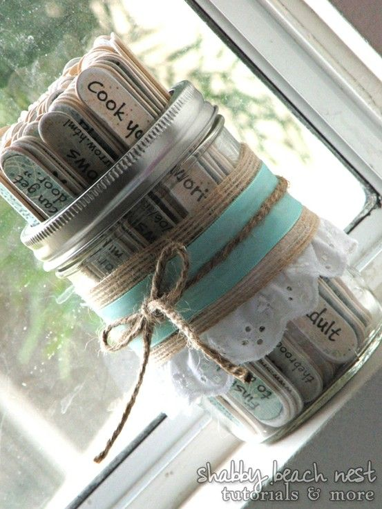 Get your bridal shower guests to write a date night idea on a stick then use these later!!