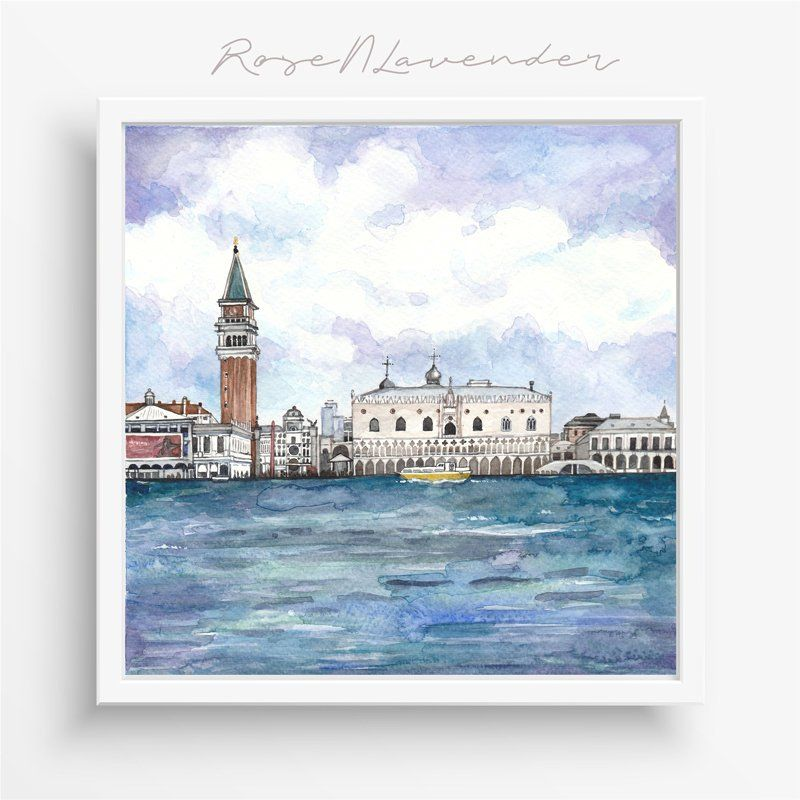 Venice Watercolor Print Italy Watercolor Painting Venice Art