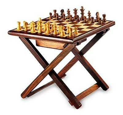 Stylla #london Handmade #sheesham Wood #cross Leg Folding Coffee Table  Chess Game,