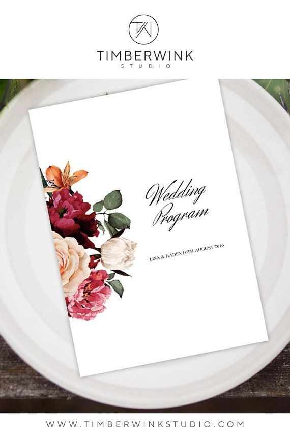 Burgundy and Gold Wedding Program, Order of Service Printable - order sheet template