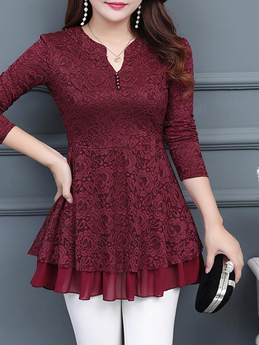 Decorative lace cascading ruffles lace long sleeve tshirts in
