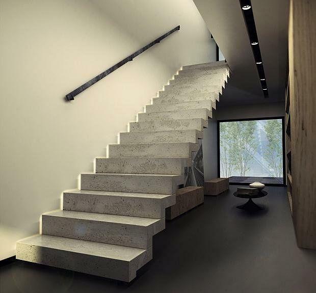 Lighting Basement Washroom Stairs: Schody Betonowe Wykończone Drewnem