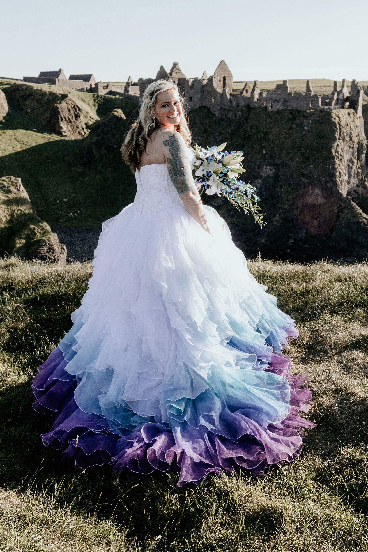 Colorful Wedding Dress Elopement In Northern Ireland In 2020 Wedding Dresses Elegant Bridal Dress Colored Wedding Dresses