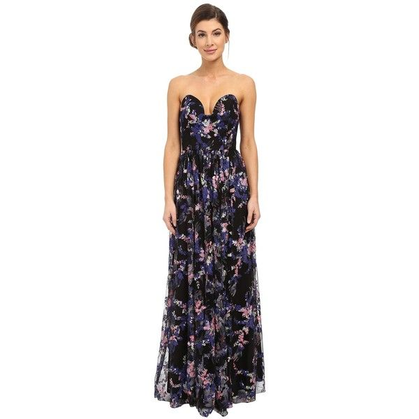 Nicole Miller Embroidered Flowers Strapless Plunge Gown Women S Dress 550 Liked On Polyvore