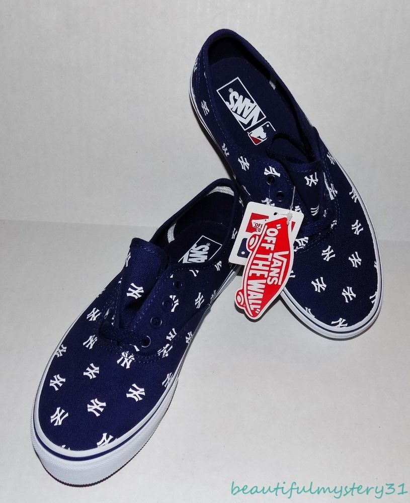 51d378e79d6d94 New VANS New York Yankees MLB Navy Blue Kids Youth Canvas Low Skater Shoes  US 4  VANS  NewYorkYankees
