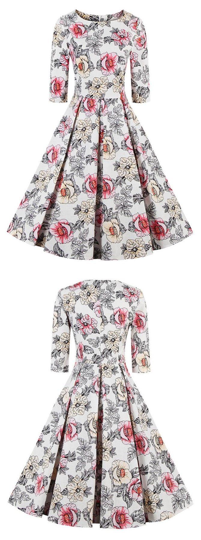 Floral print vintage dress short vintage dress with sleeves s