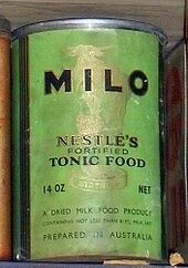 A 1940 Tin of Milo. In 1934, Australian industrial chemist and inventor Thomas Mayne developed Milo and launched it at the Sydney Royal Easter Show.[2] Milo began production at the plant located in Smithtown, near Kempsey on the North Coast of New South Wales. The name was derived from the famous ancient athlete Milo of Croton, after his legendary strength.