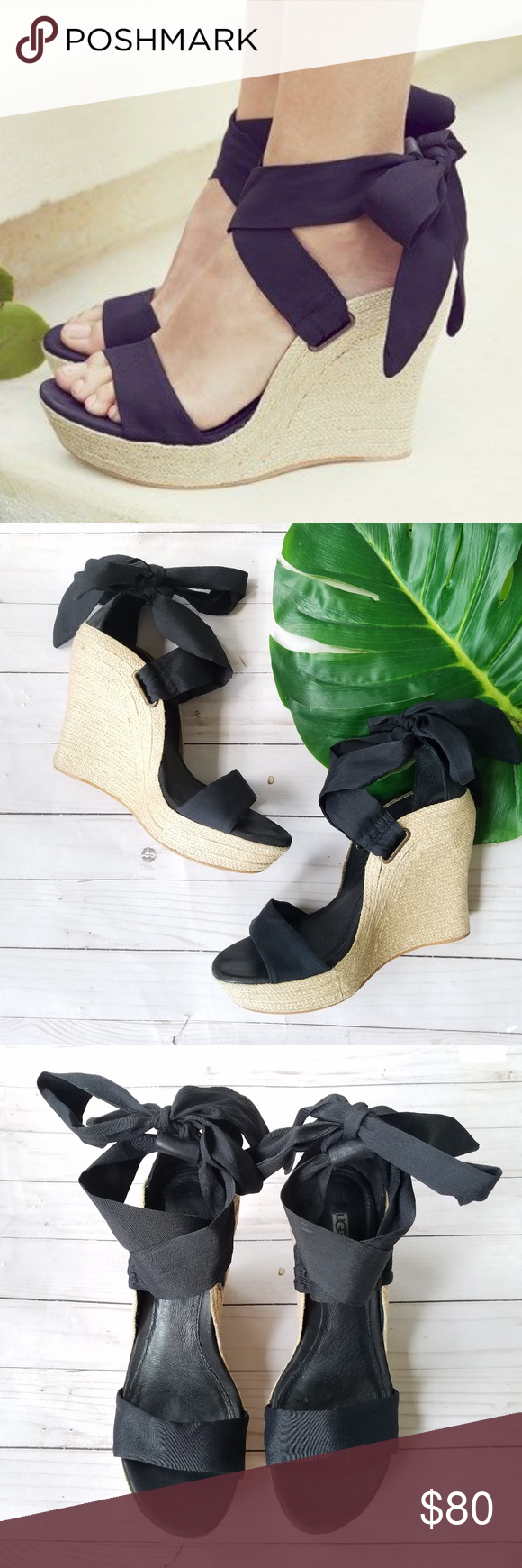 6aace6699710 Ankle Straps · Black Sandals · Espadrilles · Ugg Shoes · Ribbon · Ugg Jules  Espadrille Wedges Ugg. Women s 7.5. Jules Platform Wedge Sandals. Color