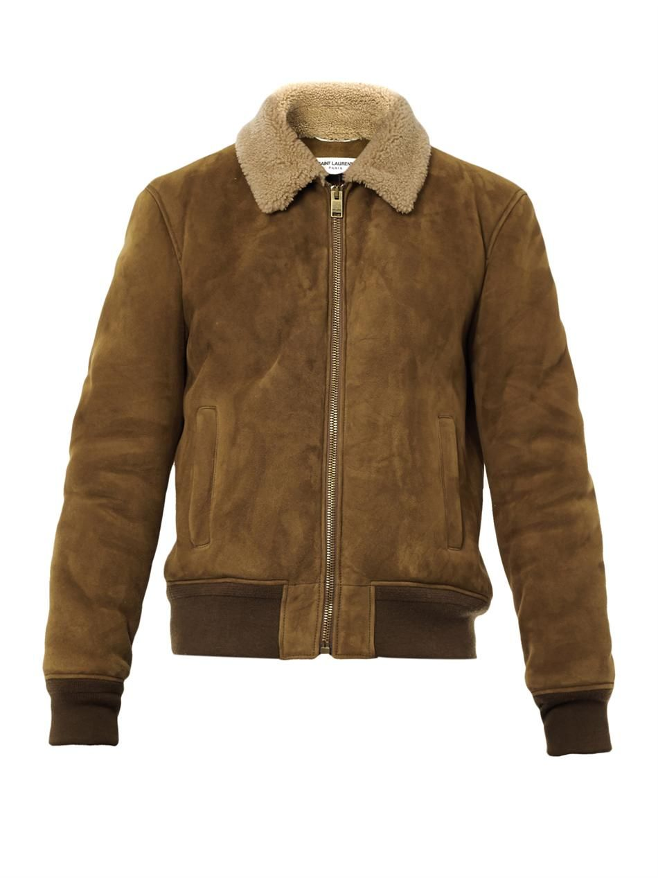 2d00f8ac9be7 Suede and shearling bomber jacket   Saint Laurent Suede Jacket, Fashion  Lookbook, Mens Attire
