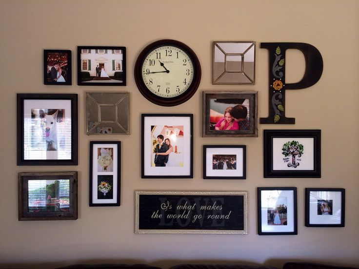 Decorating Living Room Wall With Initial 31 Collage Photo Frames