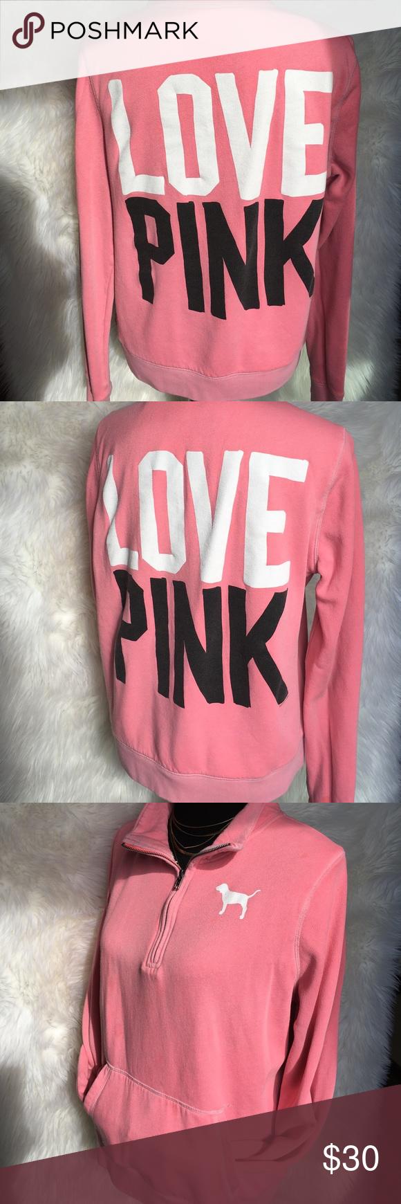 Victoria's Secret LOVE PINK dog logo sweater zip M Pink