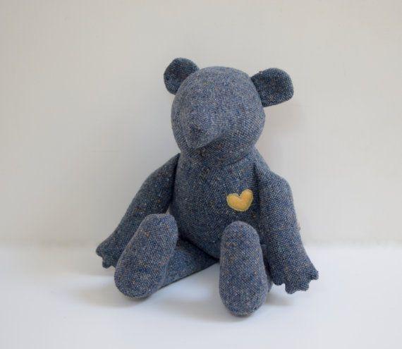 Handmade stuffed Bear doll upcycled Heirloom blue Teddy Bear