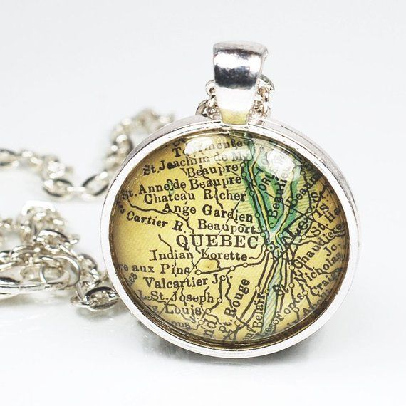 Quebec Map Necklace  Vintage Map Pendant Jewelry from a Vintage
