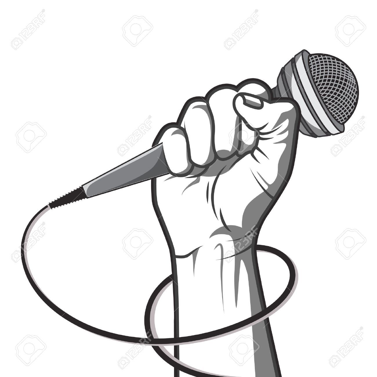 hand holding a microphone in a fist. illustration in black