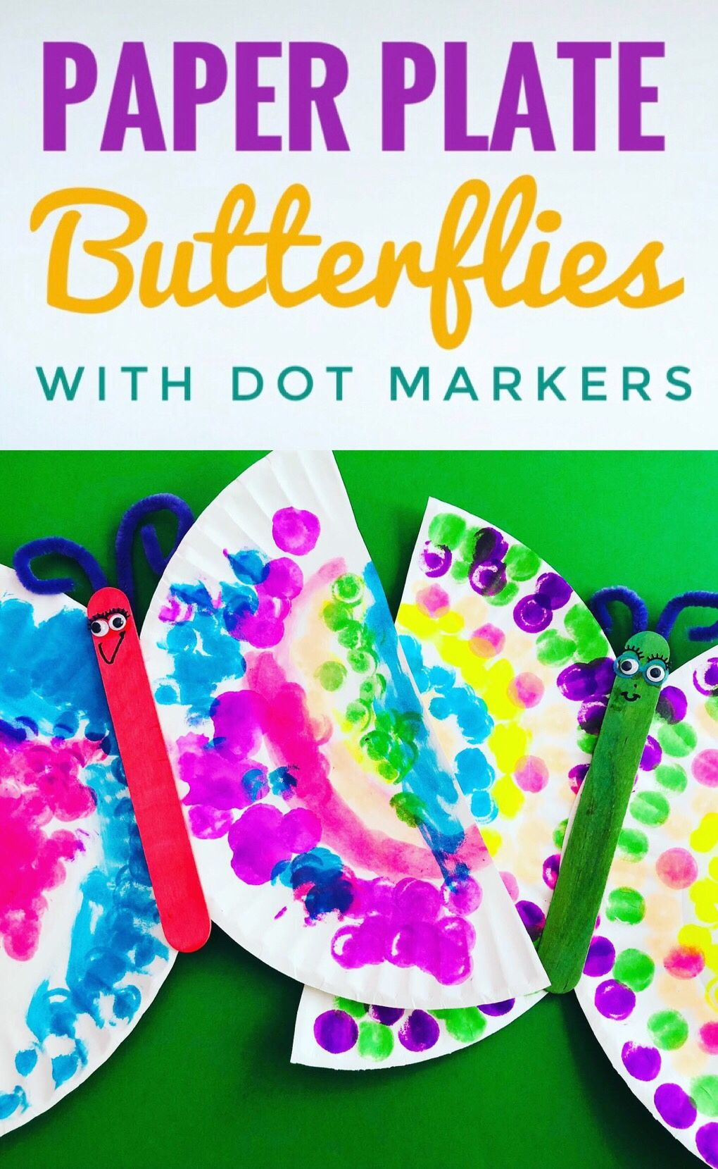 Create cute paper plate butterflies with dot markers