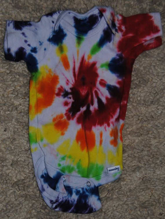 Short Sleeved Onesie Tie Dye with a swirl pattern by ...