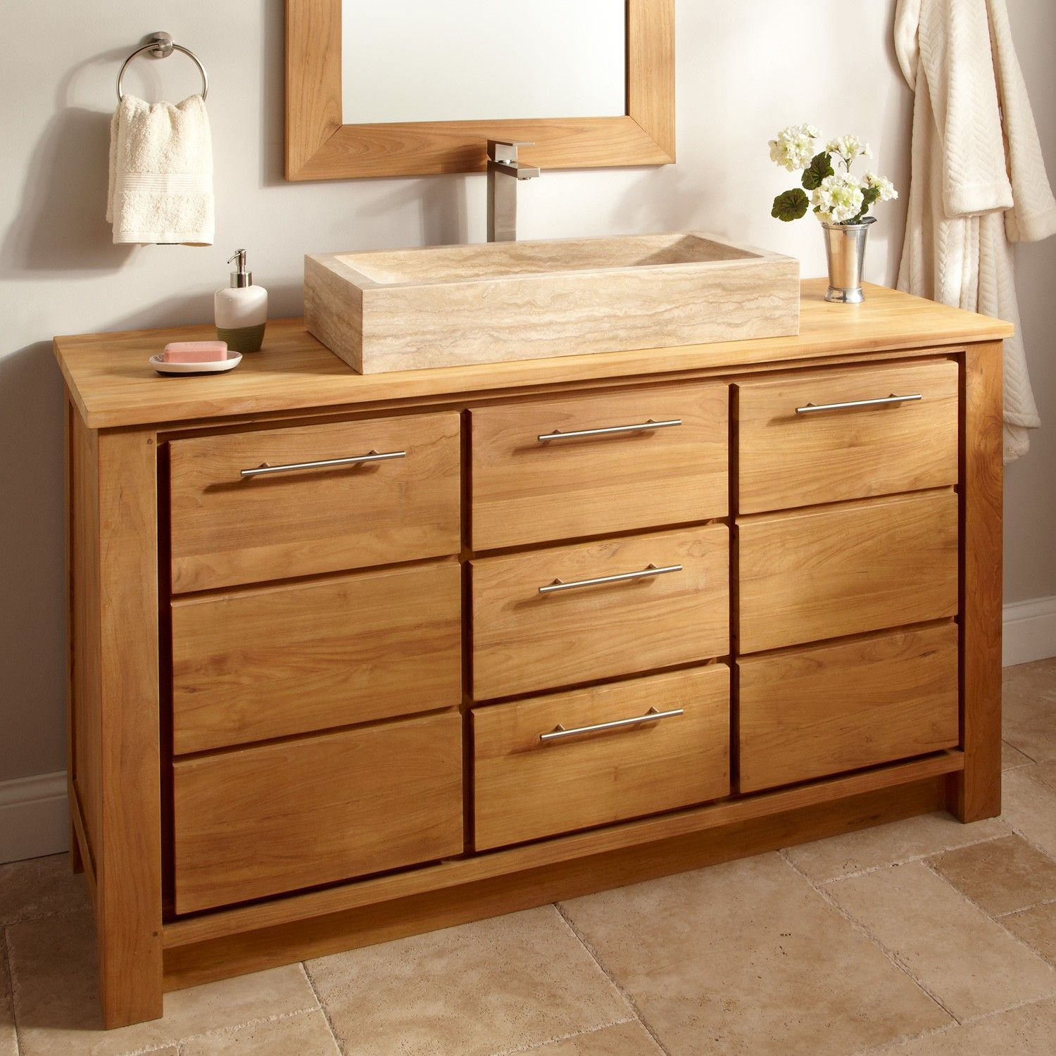 60 venica teak single vessel sink vanity natural teak for Single vanity bathroom ideas