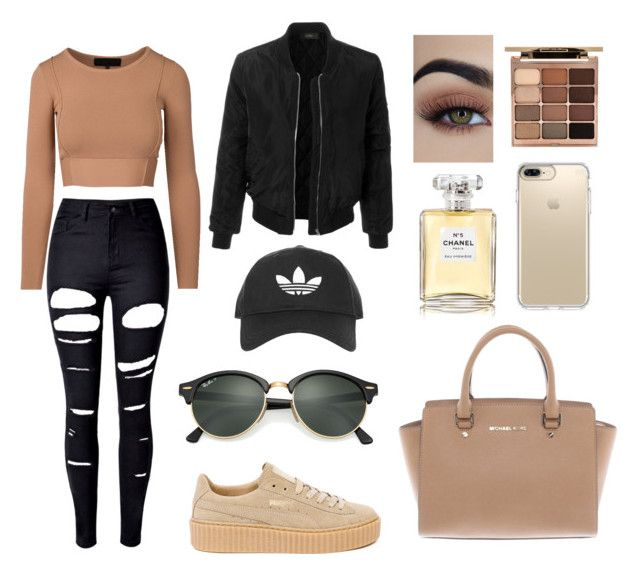 """""""#FENTYxPUMA"""" by mafer-castr on Polyvore featuring LE3NO, WithChic, Puma, Stila, Chanel, Topshop, Speck, Ray-Ban y Michael Kors"""