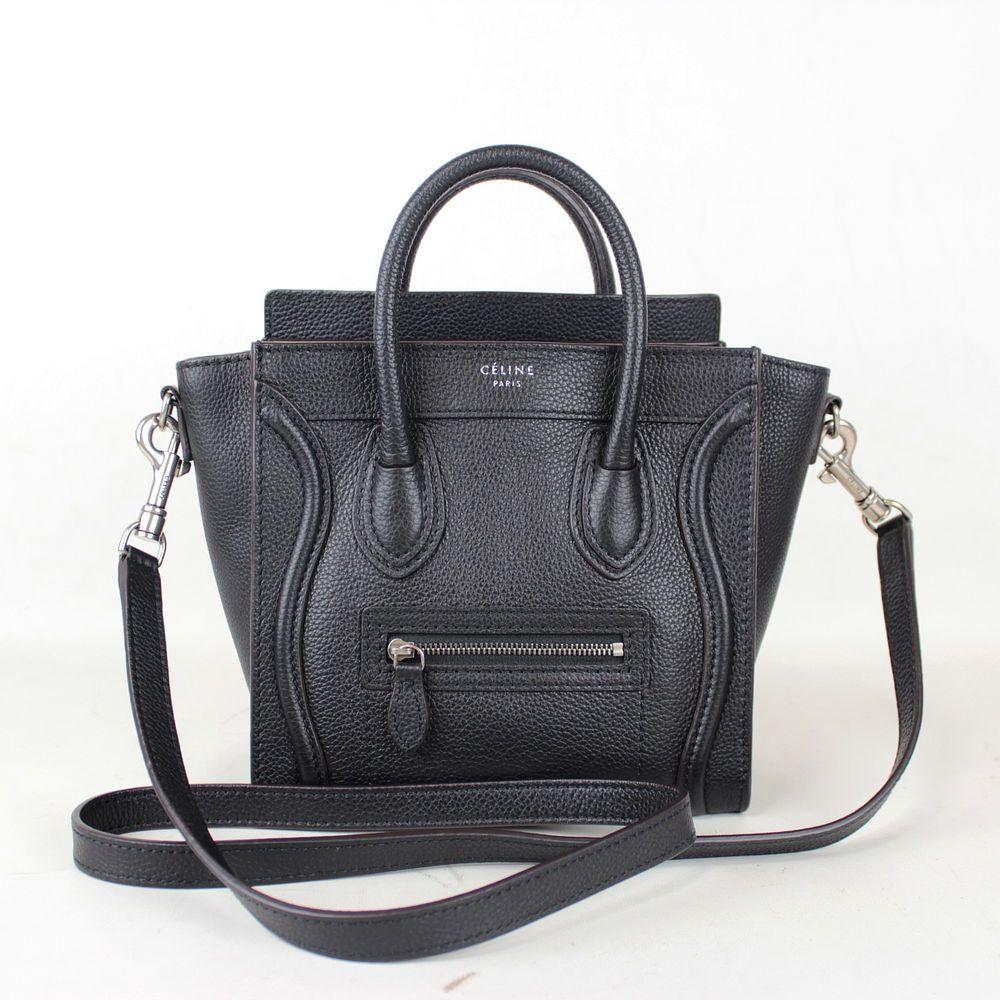 6ab8287991aa Authentic CELINE Nano Shopper Black Calf Leather 2 Way Tote Bag w ...
