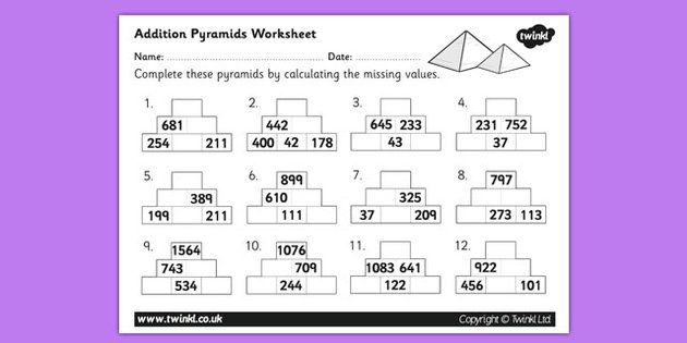 Addition Pyramids Worksheet 2 Places to Visit – Maths Pyramid Worksheet
