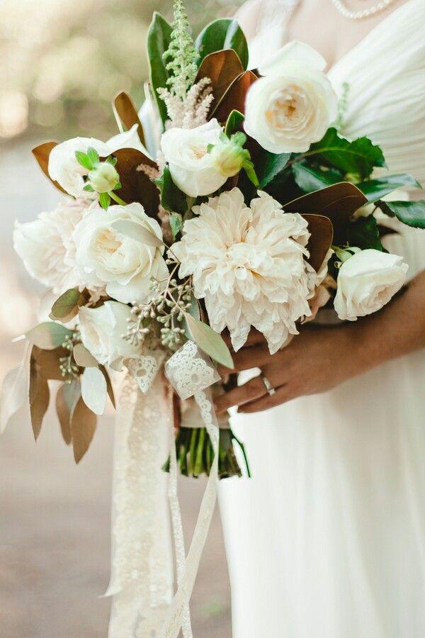 Magnolias Dahlias White Roses Eucalyptus Leaves Dahlia Bridal Bouquet Wedding Bouquets Bridal Bouquet