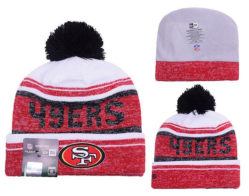 official photos cdd38 13646 Men s   Women s San Francisco 49ers New Era 2016 NFL Snow Dayz Knit Pom Pom  Beanie Hat - White   Red   Black