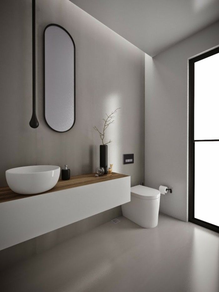 Schon Bathroom Ideas Photo Gallery, Minimalist Style With Light Walls And Floor,  Oval Wall Mirror