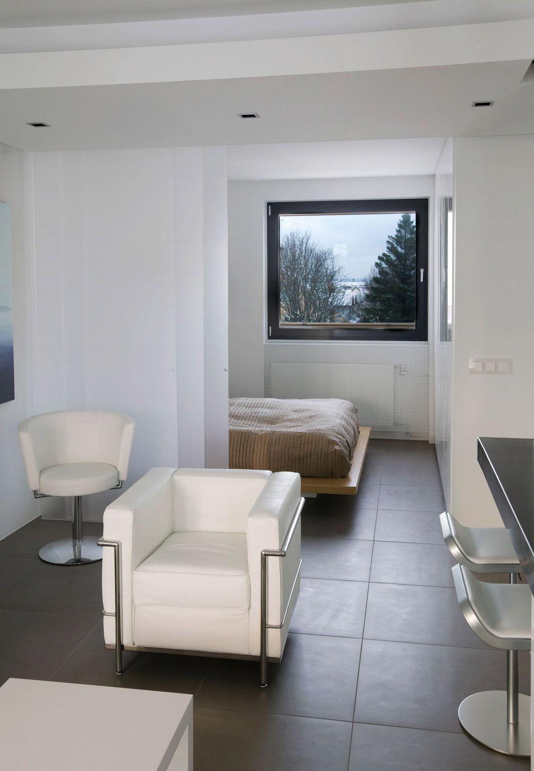 Bedroom living space modern apartment in reykjavik iceland