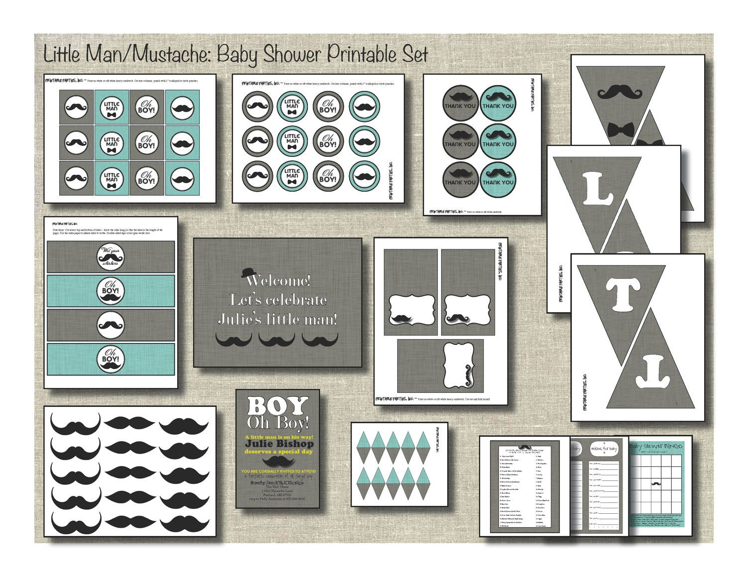 Little Man/Mustache Baby Shower Printable by PrintablePartiesInc