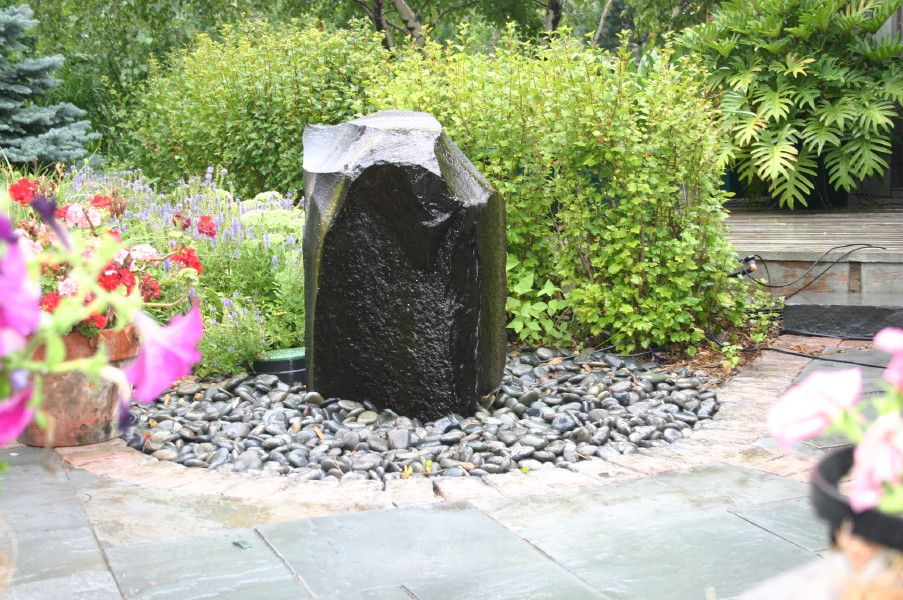 Garden Design, Natural Stone Fountain Ideas In Garden: How To Make A Dry  Garden