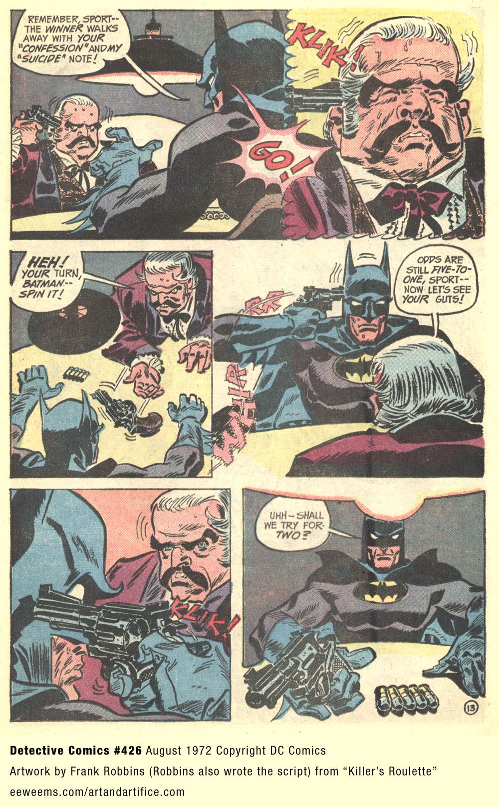 Frank Robbins artwork from Detective Comics 1972 splash page
