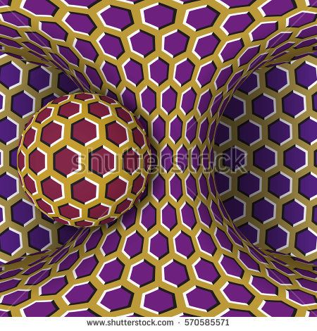 Optical motion illusion bitmap illustration. A sphere are rotation around  of a moving hyperboloid.