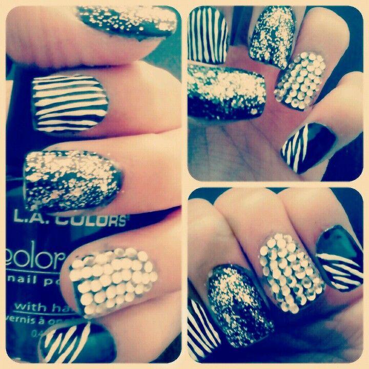 Nail Art Zebra Stripes: Acrylic Nails, Nail Art, Zebra Print, Stripes, Nail Design