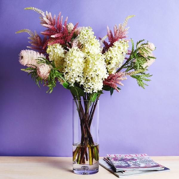 Banksia Cream Lilac Pink Ombre Astilbe Large Spring Summer Floral Arrangement In Tall Glass Vase In 2020 Summer Floral Floral Arrangements Tall Glass Vases