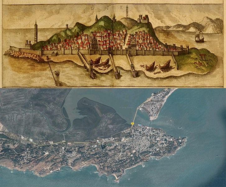 #Diu, #India #Map: Then(1572) And Now(2016) #OldCities Http://old Cities  World.blogspot.rs/2016/02/diu India Map Then1572 And Now2016.html #oldmaps