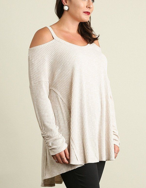 Cold Shoulder , Warm Heart Ribbed Cold Shoulder Sweater Top Light ...